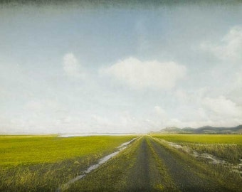 Long Open Road Photography, minimal country wall art, vintage home decor print, travel photo