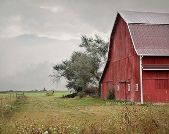 Red Barn Photography, Old Farm, Country Decor, Rustic Wall Art,  Storm Photography, Barn Picture, Large Farm Prints