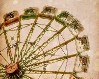 Ferris Wheel Carnival Ride Photography, pink brown beige magical wall art, vintage inspired home decor, baby nursery