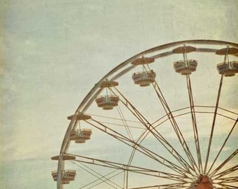Ferris Wheel County Fair Baby Nursery Photograph - pastel vintage wall art, magical home decor, indian summer - 8x8