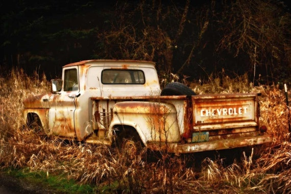 Old Rusty Truck Fine Art Photography Print, Classic Chevy Truck Picture