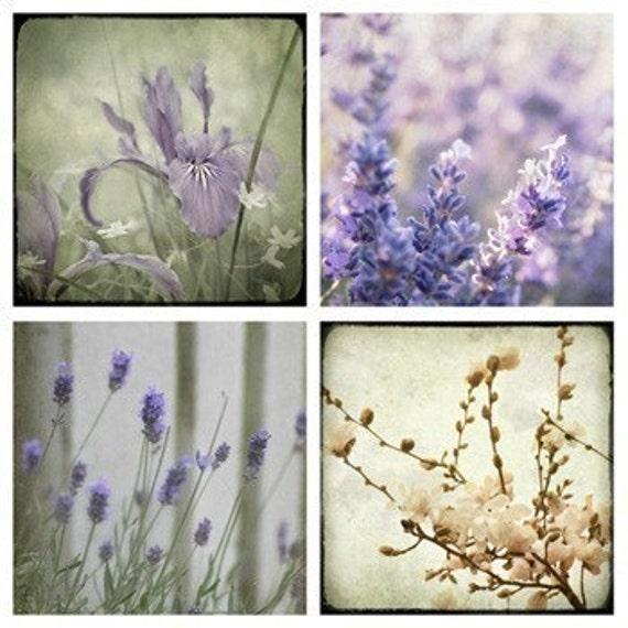 Lavender Iris Magnolia Tree Photo Collection, purple beige wall art, home decor, little girl baby nursery, vintage - Set of Four