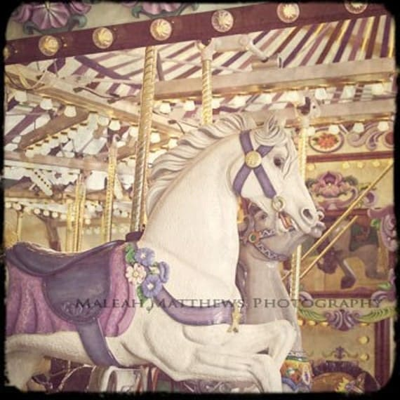 Carousel Horses at the Carnival Photograph - baby nursery print, gold yellow purple