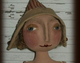 Primitive Folk Art Romantic Round Head Doll - Melody -  Mailed Pattern