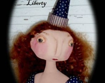 Primitive Folk Art Lady Liberty Doll - Americana Patriotic  EPattern