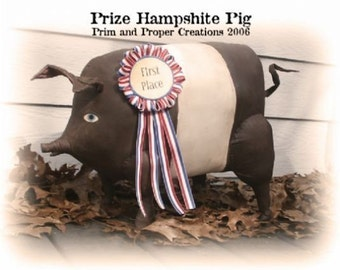Folk Art Prize Hampshire Pig- Primitive Pig pattern -  Mailed Pattern