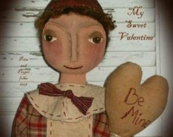 Primitive Folk Art Boy Doll - My Sweet Valentine Doll - Mailed Pattern