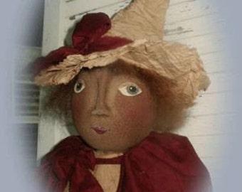 Primitive Folk Art Halloween Witch Doll  - Cassie and Pumpkin Head Epattern