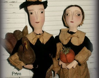 Primitive Pilgrim Harvest Thanksgiving Dolls Epattern