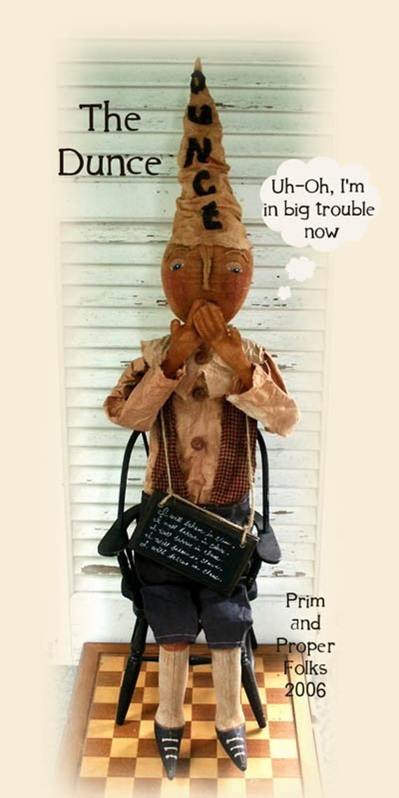 Primitive folk art dunce doll mailed pattern from for Dunce hat template