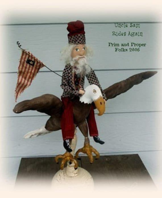 Primitive Folk Art American Bald Eagle Epattern