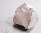 Soft Pink Calcite ring - Raw Calcite mineral and sterling silver