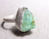 Ocean green Opal ring - Rough Opal specimens and sterling silver