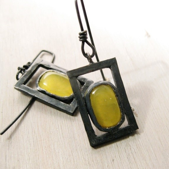 Sunny squares earrings - Yellow Jade and sterling silver