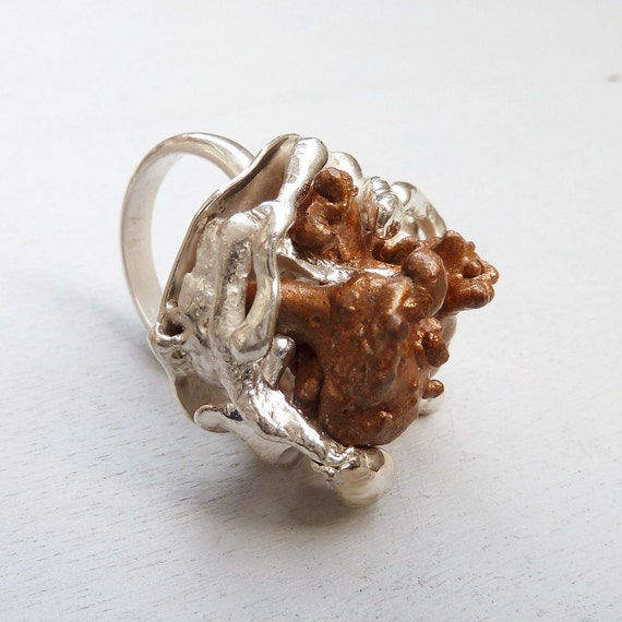 Melted metal ring - Natural Copper specimens and sterling silver