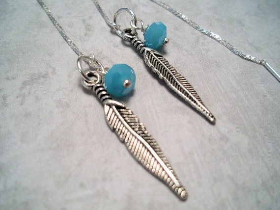 Feather and Turquoise Sterling Silver Ear  Threader Earrings