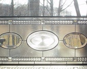 stained glass window panel Ovals Transom with clear bevels