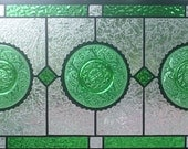 Stained Glasss window Panel Forest green transom