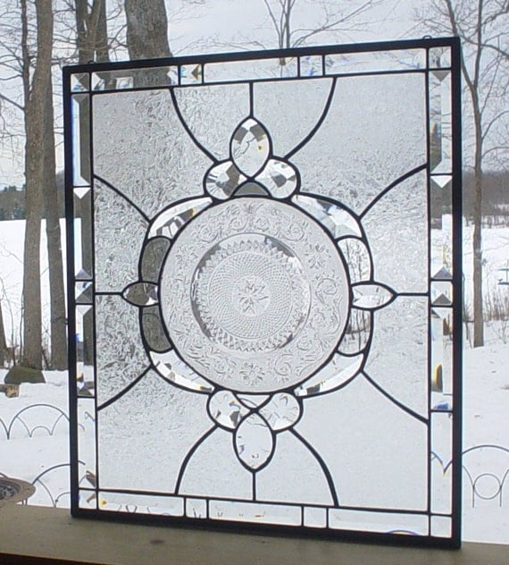 stained glass panel window vintage plate  Crystal Medallion clear