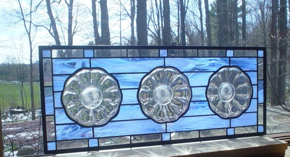 Crystal Daisy Flower Transom stained glass window panel