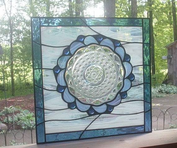 Georgia Blue stained glass vintage plate panel