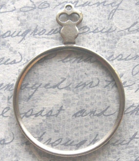 Silver Monocle Eye Spy Glass Antique Victorian Optical Lens DIY Steampunk Jewelry Pendant