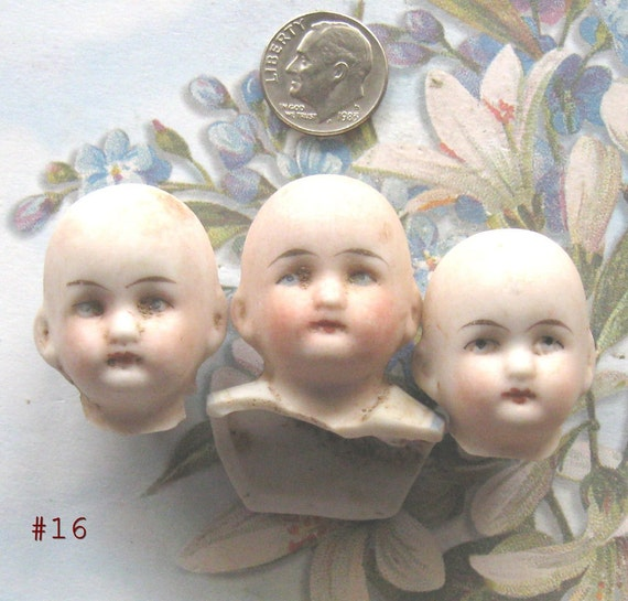 German Doll Heads PAINTED LADIES GoTHiC & EeRIe Antique Frozen Charlotte Doll Body Head Part Assemblage Diy Jewelry