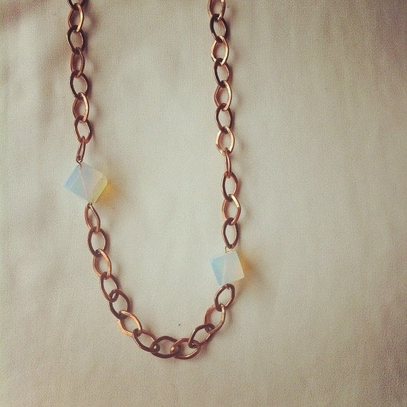 RESERVED // Mooncubes - Copper & Moonstone Statement Necklace