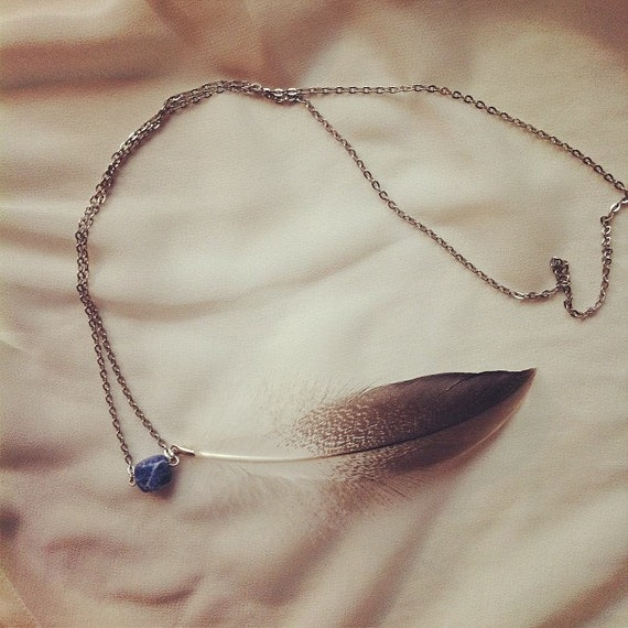 Feather & Stone Necklace, Dappled Grey Goose and Sodalite - One of a Kind