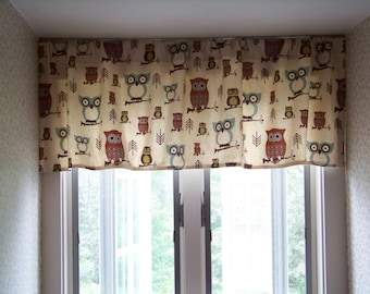 Owl Window Valance HOOTY OWL in Retro Print Fabric Village Blue, Olive, and Paprika Red