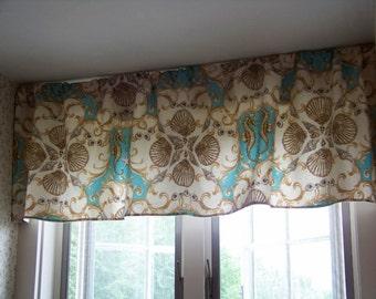 Jewel of the Sea Custom Window Valance made with Waverly Sun n Shade Fabric in Aquamarine