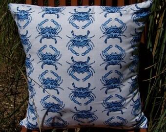 Blue Crab Beach Pillow Cover 16 x 16 Blue Crab Walk Going Coastal Ready to Ship