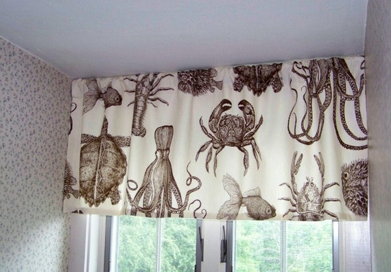 Beach Valance Sea Life Octopus Crab Lobster And Turtle Window