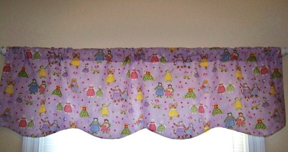 Custom Window Valance Boutique Kittens Frogs and Bunnies Petite Playmates with Scalloped Hem