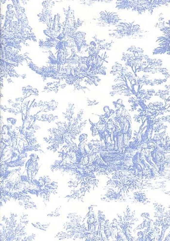 Jamestown toile home decor 54 inch wide fabric baby blue and - Toile de jouy decoration ...