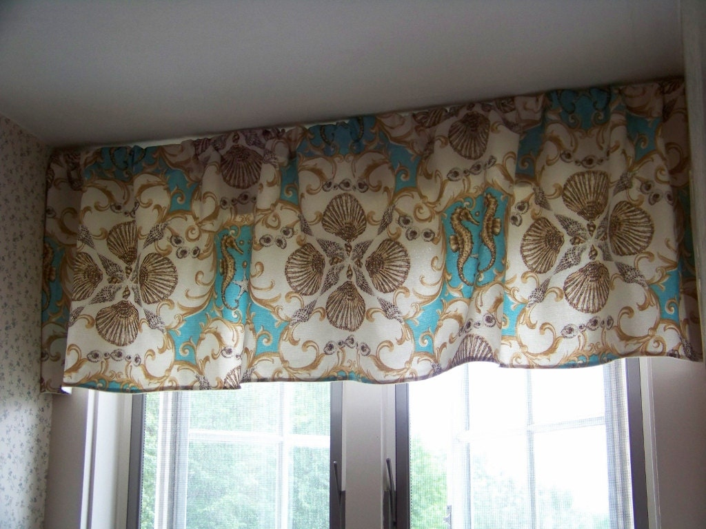 Jewel of the sea custom window valance made with waverly sun n for Custom window designs