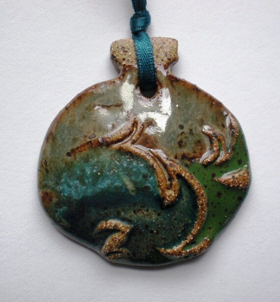 Handcrafted Teal, Turquoise and Metallic Green Ornament