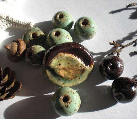 Stoneware Beech Leaf Pendant