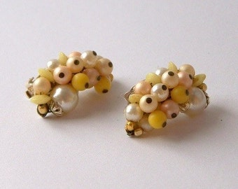 Crescent Shaped Cluster Clip On Earrings Marked Japan