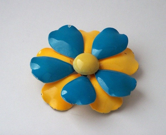 Turquoise and Mustard Flower Brooch