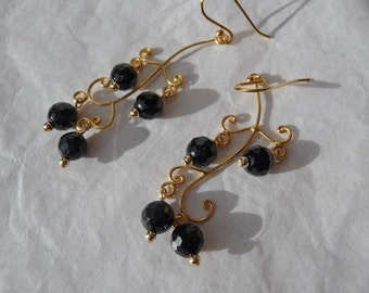 REDUCED Faceted Black Onyx and Gold Tree Earrings, vermeil, 24 kt gold, sterling silver, gold fill, gemstone, branch, leaves, sparkling