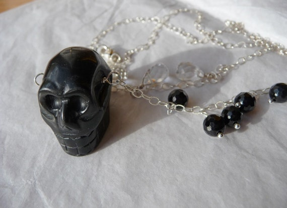 Dark Thoughts Necklace - Black Onyx Carved Skull, Rock Crystal and Sterling Silver, faceted, glitter, quartz, clear