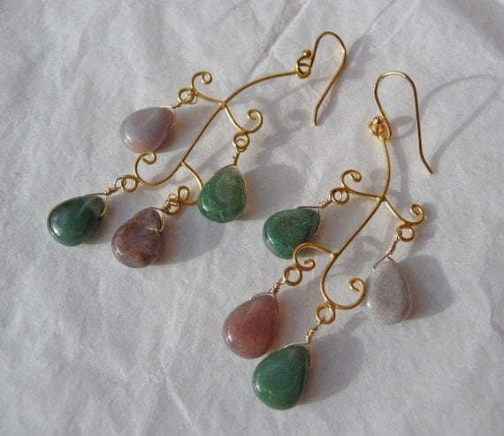 REDUCED Tree Agate and Gold Earrings, gemstones, green, brown, pink, vermeil, 24kt gold, sterling silver, branches, leaves, drops, gold fill