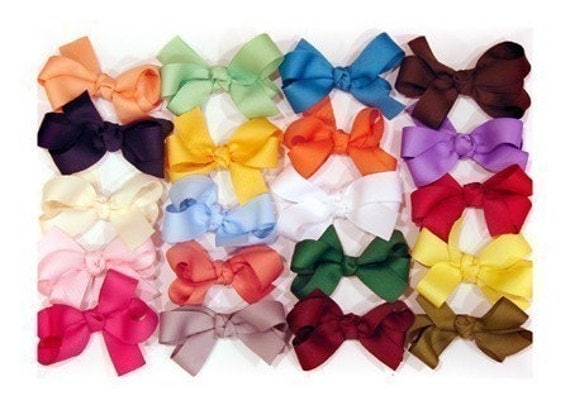 Boutique Style Set of 5 All Occasion Country Chic Back to School Baby Girl Hair Bow Hairbow Pick Colors 3.5 inches