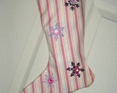 CHRISTMAS STOCKING                                                                                                                                                                                                                        GIRLY STRIPES IN PINK