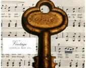 Antique skeleton key old, gold