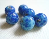 Vintage Japanese Glass Faux Lapis Beads 6mm