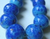 Vintage Japanese Glass Faux Lapis Beads