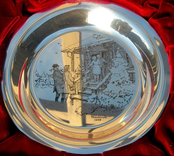 1975 Franklin Mint Christmas Plate Solid Sterling Silver Home