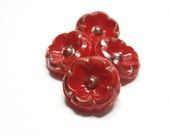 Glass Flower Buttons, Poppy Red & Silver Luster,  Red Glass Buttons, JAb322
